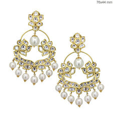 Victorian Style Pearl Beaded 18k Gold 7.8ct Diamond Pave Dangle Earrings Jewelry