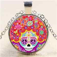 Colourful Sugar Skull Cabochon Glass Tibet Silver Chain Pendant Necklace