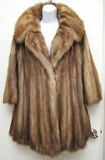 S M 2-10 Vintage Genuine Stone Marten Sable Fur Stroller Coat Jacket Full Collar