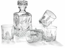 WHISKEY GIFT SET 7 PIECE 6 GLASSES 1 SQUARE DECANTER STOPPER DISHWASHER SAFE