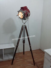 VINTAGE DESIGNER FLOOR SEARCH LIGHT WITH LAMP TRIPOD NAUTICAL LEATHER SPOT LIGHT