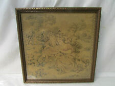 """Antiques Art Nouveau Romantic Scenery Tapestry ~ Framed 10.5"""" x 10.5"""""""