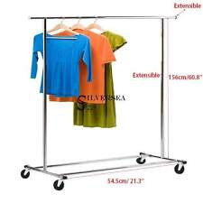 Heavy Duty Commercial Grade Clothing Garment Rolling Collapsible Rack 60.8'' Top