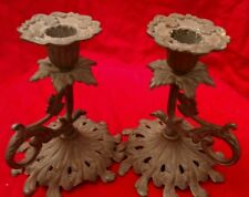 LOVELY PAIR OF ART NOUVEAU METAL CANDLE HOLDERS