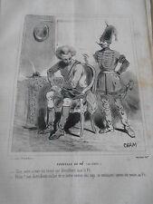 Caricature 1848  Nouvlle du Pô Italia Autrichiens se battre comme des coqs