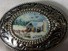 Hand painted Silver Toned Belt Buckle Winter Scene By Ruth Voland Vintage