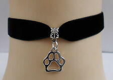 Black Velvet Choker with Paw Print, BDSM, Kitty Kitten Cat, Dog, Pet, Cosplay,