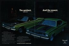 1971 PLYMOUTH DUSTER 340 & TWISTER Green Sports Car With Black Stripe VINTAGE AD