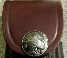 "Replica Indian Head Nickel snap . Brown 5"" leather knife sheath. fits Buck  110"
