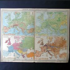 Europe Physical Features & Population- Genuine 1922 Vintage Map by Bartholomew