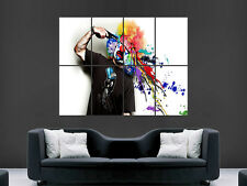 CLOWN BLOWING HIS BRAIN OUT IN PAINT GUN   ART HUGE GIANT POSTER PRINT LARGE