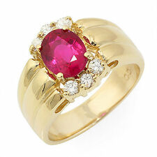 Estate ring 1.75 ct natural ruby and diamond 14k gold