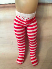 "Red  and White Striped Tights for  7"" Riley: Doll Secrets"