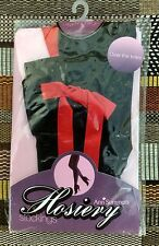 Ann Summers Sexy Black (Red) Ribbon Slot Over The Knee Hold Ups, L/XL 14-22 BNWT