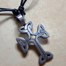SILVER Gothic Templar Cross Pewter Pendant With Cotton Necklace #253