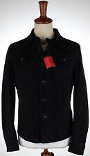 NWT ISAIA suede SHIRT JACKET navy blue unlined Luxury Italy eu 54 us XL