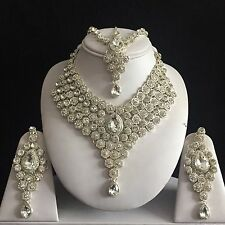 SILVER CLEAR INDIAN COSTUME JEWELLERY NECKLACE EARRINGS MATHA PATTI SET BRIDAL N