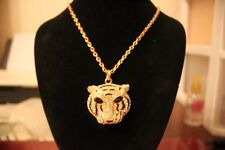 "Wild Life: Gold Tone 20"" Chain, Clear Crystal,Black Enamel Tiger Face Necklace"