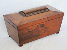 BEAUTIFUL ANTIQUE REGENCY ROSEWOOD SARCOPHAGUS TEA CADDY 1830 box casket 2