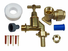 25mm MDPE Outside Tap Kit With Heavy Duty Tap, Brass Wall Plate & Hose Fitting