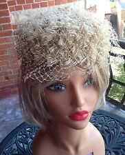 Vintage Antique Lace Netting Ladies Hat With a Satin Lace Made In The USA