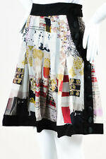Etro NWT Black Cream Multicolor Silk Button Trim Printed Pleated Skirt SZ 40