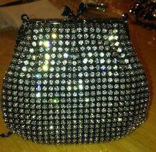 Stunning Black Swarovski Crystal Beaded Evening Bag Clutch  Free Ship New