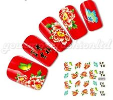 NAIL ART WATER TRANSFERS STICKERS DECALS CHINESE FLOWERS STYLE (D12)