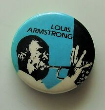 LOUIS ARMSTRONG OLD METAL BUTTON BADGE FROM THE 1980's VINTAGE JAZZ RETRO