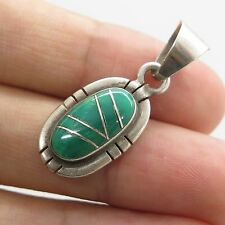 Jessie Claw Old Pawn 925 Sterling Silver Carico Lake Turquoise Gem Pendant 3g