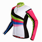 Ladies Womens Cycling Bicycle Jersey Top T-Shirt - Long Sleeve - White Red Green