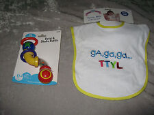Text Talk Terry Bib Velcro Colorful Twist Shake Rattle Feed Play NEW!
