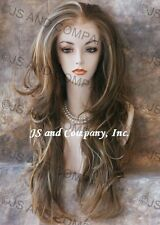 Hi Heat LACE FRONT WIG Long Wavy Ash Red Blonde Mix 008 MoonStone