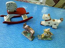 Lot 4 antique and vintage miniature wooden toys