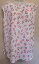 Next UK14 EU42 US10 new white sleeveless top with pink floral pattern