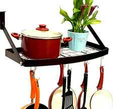 Pot Pan Organizer Rack Shelf Hanging Cookware Holder Wall Mount Kitchen Storage