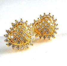 Simulated Diamond Girl Love Heart Sparkly Studs Earrings 24K Yellow Gold Plated
