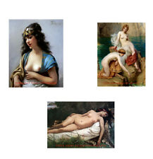 "Nude Women in Art Set, Three 8.5x11"" Photo Prints, Naked Seaside, Resting Nymph"