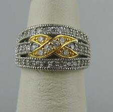 Sterling Silver with Yellow Gold Accents and Cubic Zirconia Ring