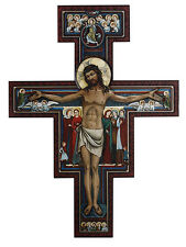 "BEAUTIFUL 31"" SAN DAMIANO WOOD CROSS CRUCIFIX - NIB"