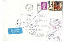 GB 1991 Dead Letter to Thailand, returned to Sender (bak)