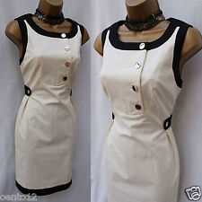 Karen Millen DL057 Black Ivory Sixties Contrast Shift Office Party Dress 12 UK