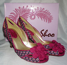 New Ruby Shoo Holly Violet Pink Vintage Print Ladies Wedge Heel Shoes Sz 6 Boxed