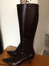 Jimmy Choo boots size 38.5 uk 5.5 brown knee high boots very good condition REAL