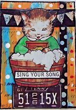 SING YOUR SONG Original Art Mixed Media Collage ACEO vintage Venecia CAT KITTEN