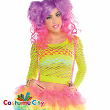 Womens Rave Party Rainbow Neon Fishnet Shirt Fancy Dress Costume Accessory