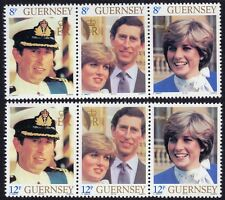 GUERNSEY 1981 Royal Wedding Strip3 x2 (no 25p) set MNH @S4598