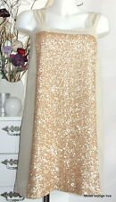 Noa Noa Kleid Dress S M 38 Shark Sequin Gold Pailleten beige creme