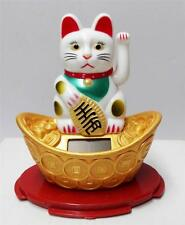 "4"" Solar Powered Moving Hand White Maneki Neko Lucky Cat On Gold"