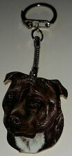 Wooden Black Staffordshire Bull Terrier Staffie key ring keychain Hand made UK